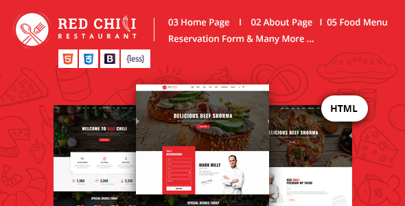 Download Red Chili - Restaurant HTML5 Template Red Html Templates