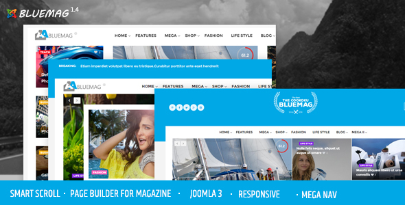 Download Bluemag - Magazine Blogging Joomla 3 Responsive Templates Blog Joomla Templates