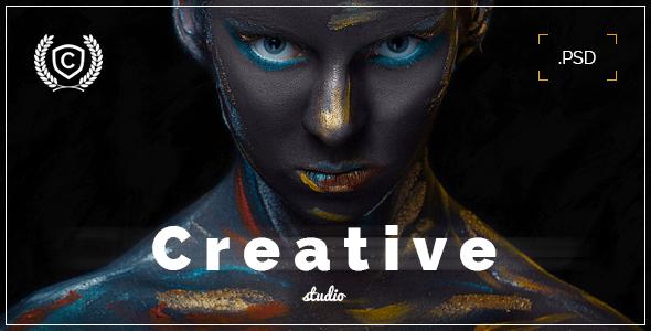 Download Creative Studio - Landing Page PSD Black Joomla Templates