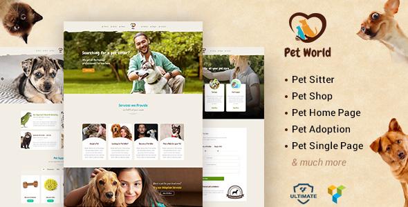 Download Pet World - Pet Sitter and Pet Shop, Animal Care WordPress Theme Job WordPress Themes