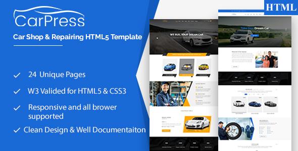Download CarPress    For Car Shop and Car Repiar HTML5 Template Car Joomla Templates