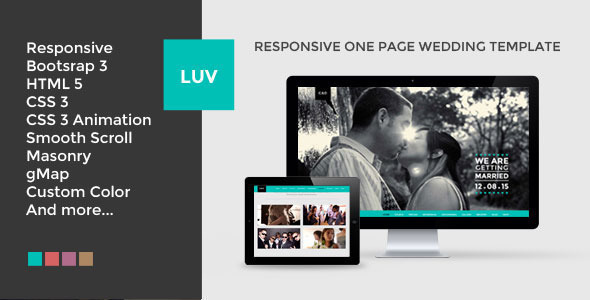 Download LUV | Responsive One Page Wedding Template Event Joomla Templates