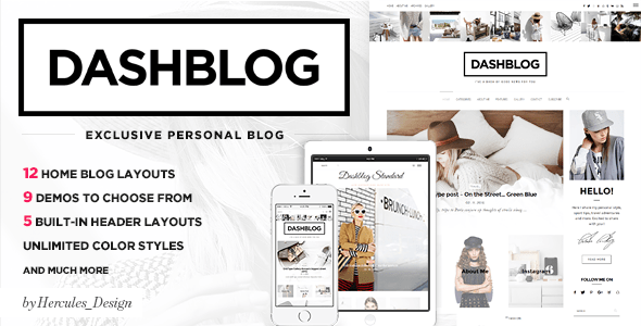 Download DashBlog - Simple and Clean Personal WordPress Blog Theme Music Blogger Templates
