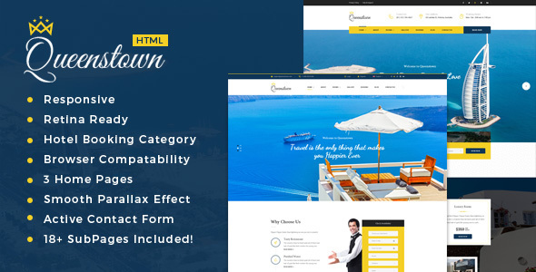 Download QueensTown : Resort and Hotel HTML Template Hotel Html Templates