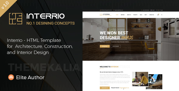 Download Interrio - HTML Template for Architecture, Construction, and Interior Design Interior Html Templates