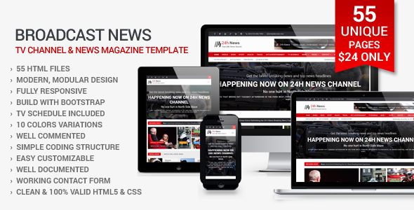 Download 24h News - Broadcast News TV Channel and News Magazine Template Newspaper Html Templates