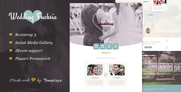 Download Wedding Fuchsia - Joomla Wedding Template Event Joomla Templates