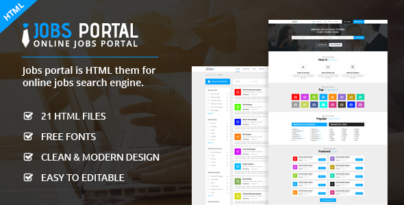 Download Jobs Portal - Online Jobs Search Template Portal Html Templates