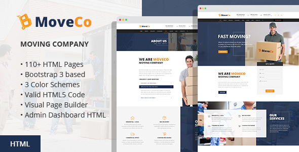 Download MoveCo - Moving Company HTML Template with Visual Builder and Admin Dashboard Company Html Templates