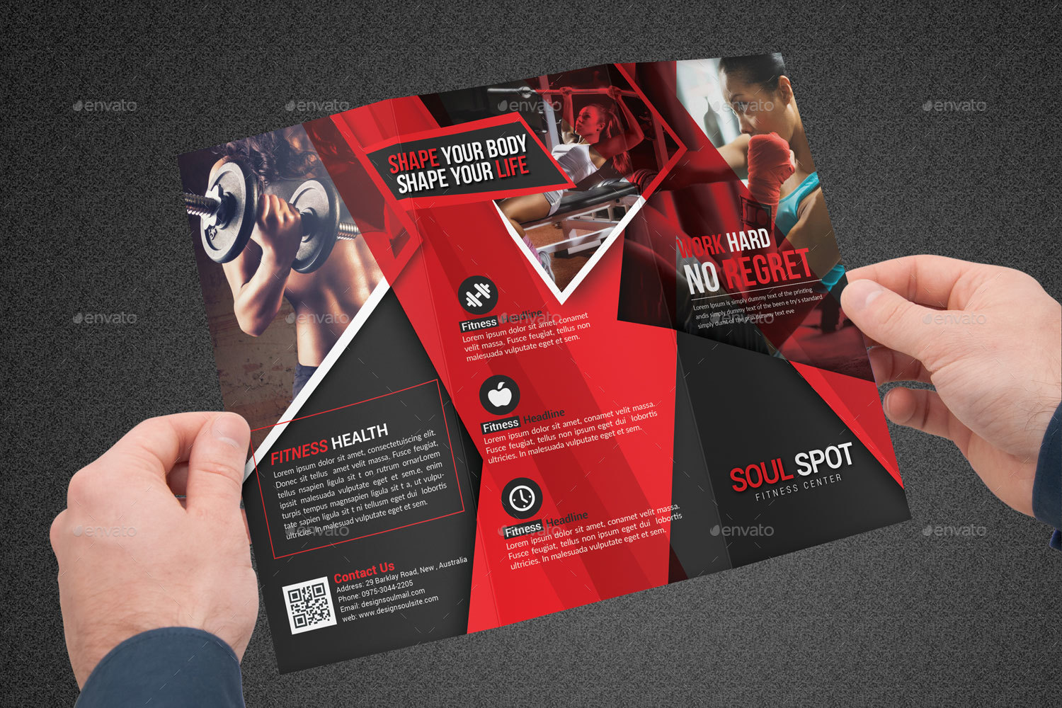 Fitness Tri Fold Brochure by designsoul14   GraphicRiver Fitness Tri Fold Brochure   Corporate Brochures      Preview Image  Set Preview Image 01 jpg