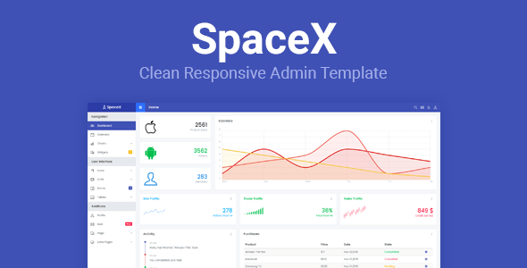 Download SpaceX - Bootstrap Admin Template Black Html Templates