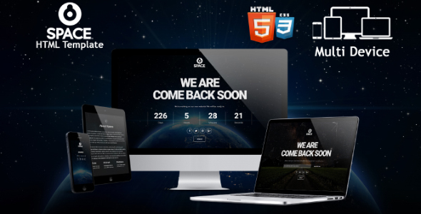 Download Space - Responsive Coming Soon HTML Template Youtube Html Templates