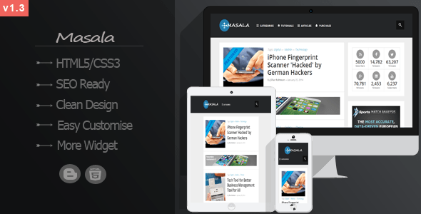 Download Masala - Responsive Multipurpose Blogger Template Elegant Blogger Templates