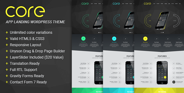 Download Core - Responsive App Landing WordPress Theme Blue WordPress Themes