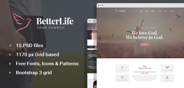 Download BetterLife - Church & Religious PSD template Church Joomla Templates
