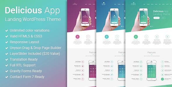 Download Delicious - Responsive App Landing WordPress Theme Blue WordPress Themes