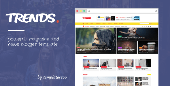 Download Trends - News/Magazine Responsive Blogger Template Video Blogger Templates