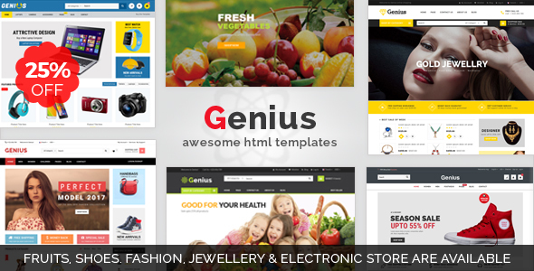 Download Genius | Organic Shop, Fashion,Jewellery, & Electronics Store Responsive HTML Template Game Html Templates