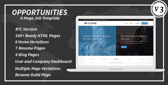 Download Opportunities A Mega Job Board Template + RTL Portal Html Templates