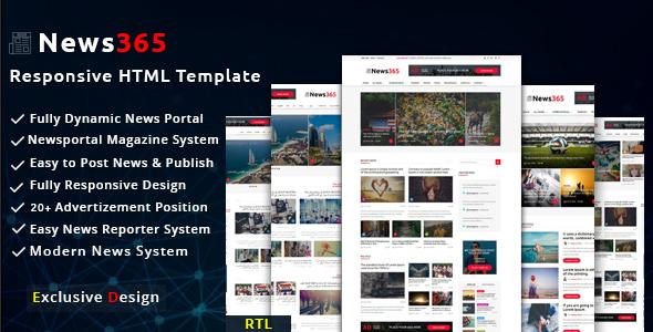 Download News365 - Newspaper Magazine Blog HTML Multipurpose Template with Video Newspaper Portal Html Templates