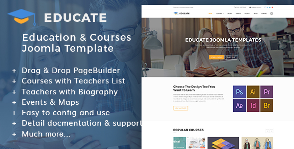 Download Educate | Education & Courses, Kindergartens Joomla Template Education Joomla Templates