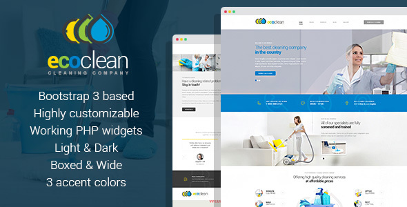 Download EcoClean - Cleaning company HTML Template Company Html Templates