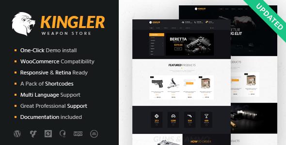 Download Kingler   Weapon Store & Gun Training Theme Black WordPress Themes