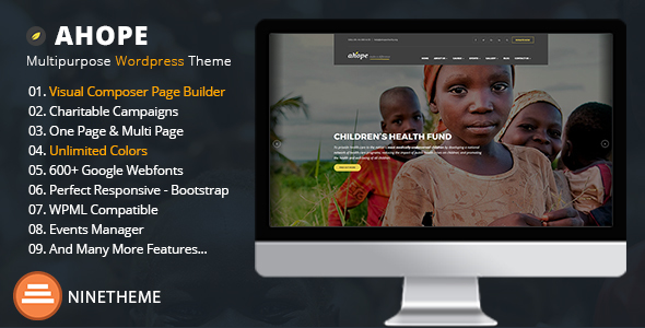 Download Ahope - A Best WordPress Theme for Non-Profit Organizations Organization WordPress Themes