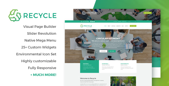 Download Recycle - Environmental & Green Business WordPress Theme Green WordPress Themes