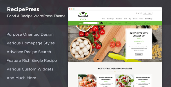 Download RecipePress - Food & Recipes Premium WordPress Theme Recipe WordPress Themes