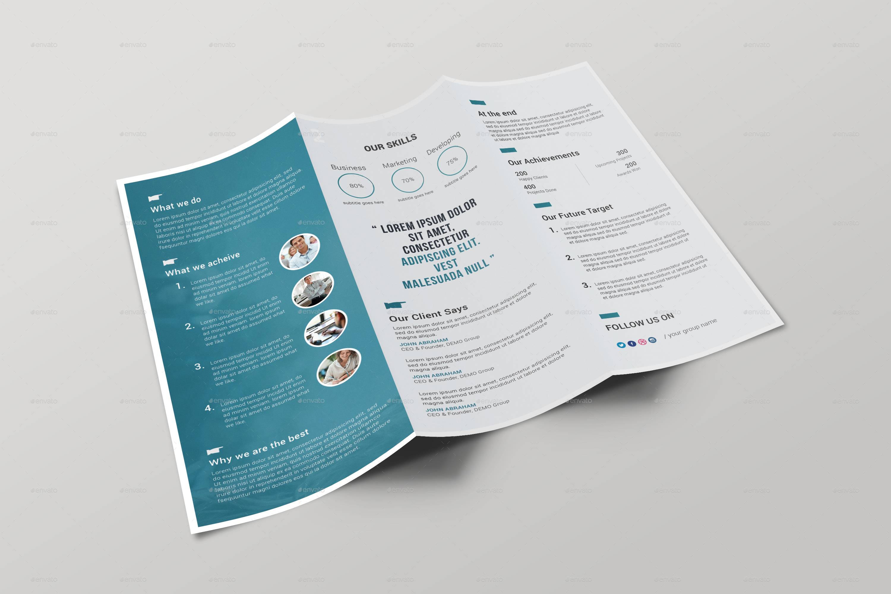 Corporate Tri fold Brochure by ARPCreation   GraphicRiver Tri Fold Brochure Mock up Template   Inside jpg
