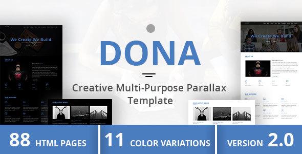 Download DONA - Creative Multi-Purpose Parallax Template Pink Html Templates