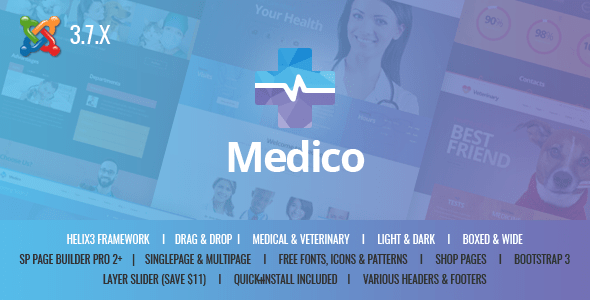 Download Medico - Medical&Veterinary Multipurpose Business Joomla Theme Job Joomla Templates