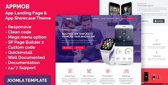Download App Landing Page & App Showcase Joomla Responsive Template - APPMOB White Joomla Templates