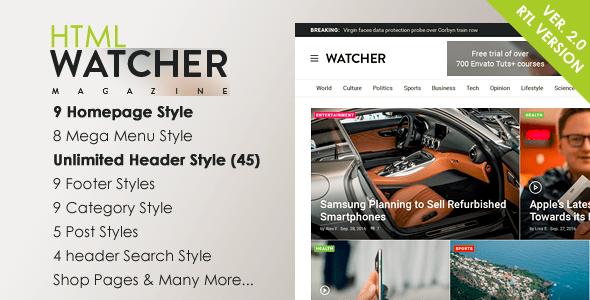 Download Watcher - News Magazine HTML Template Adsense Html Templates