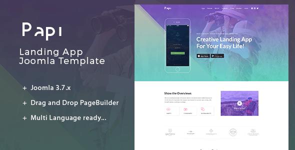 Download Papi   Multi-Language Landing App Joomla Template Minimalist Joomla Templates