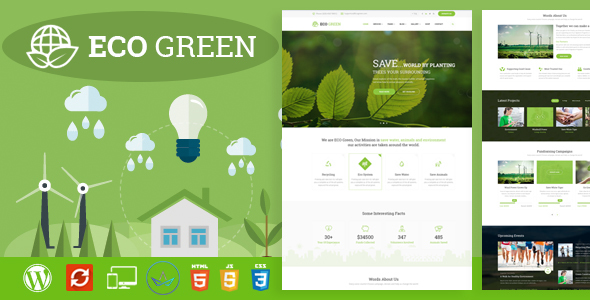 Download Eco Green - WordPress Theme for  Environment, Ecology and Renewable Energy Company Green WordPress Themes