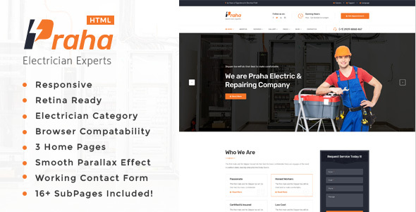 Download Praha - Electrician Experts HTML Template Amp Html Templates