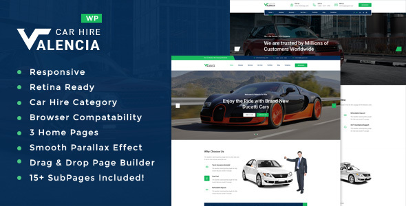Download Valencia - Car Hire WordPress Theme Car WordPress Themes