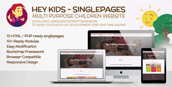 Download Hey Kids Responsive Multipurpose Singlepage Web Template Cute Html Templates