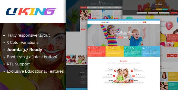 Download Uking - Responsive Joomla kindergarten Template Red Joomla Templates