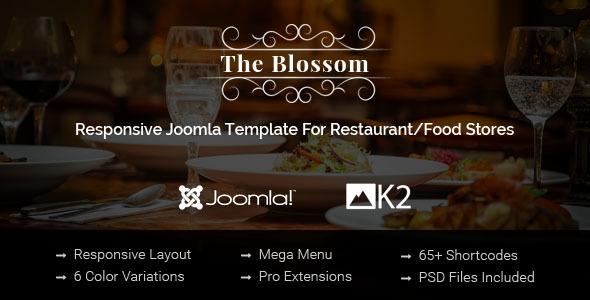 Download Blossom - Responsive Joomla Template For Restaurant/Food stores Store Joomla Templates