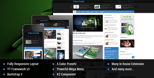 Download Tekmag -  Technology News/Magazine Joomla Template Magazine Joomla Templates