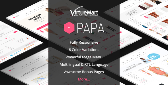 Download Papa - Responsive Multipurpose VirtueMart Template Brown Joomla Templates