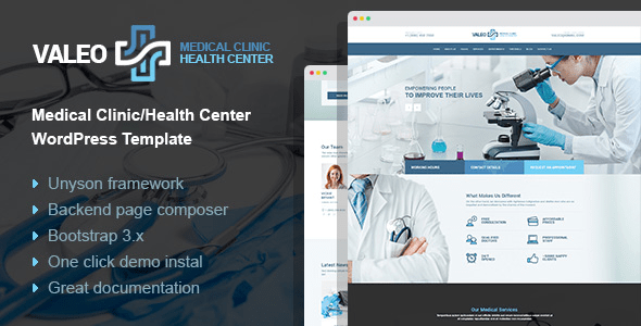 Download Valeo - health center, clinic and hospital WordPress Theme Hospital WordPress Themes