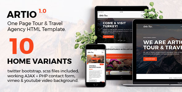 Download Artio - Tour & Travel Agency HTML Template Travel Html Templates