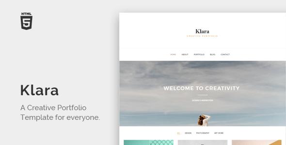 Download Klara - Minimal Creative Portfolio Portfolio Blogger Templates