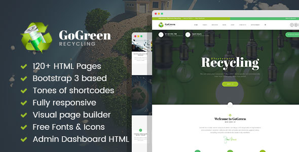 Download GoGreen - Waste Management and Recycling HTML Template with Builder Green Html Templates