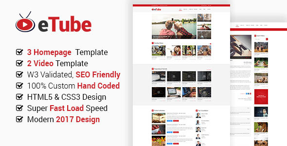Download eTube - HTML5 Video Blog / Magazine / Entertainment Site Template Adsense Html Templates