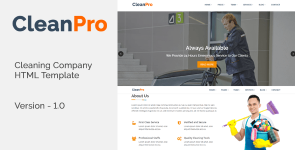 Download CleanPro - Cleaning Company HTML Template Company Html Templates